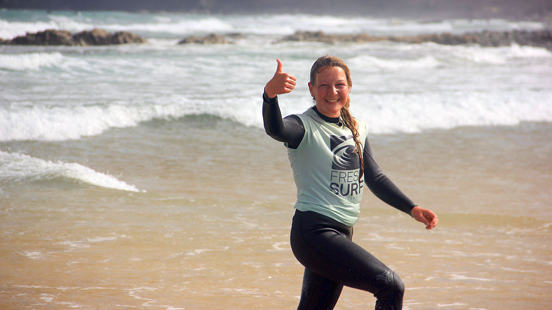 Thumbs up for surfing