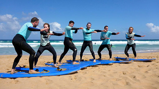 Our happy students during the surfing lesson