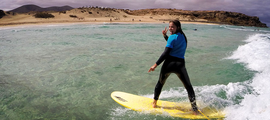 Learning to surf in our surfcamp at Fuerteventura on the 23.07.2014