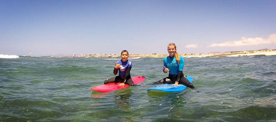Learning to surf in our surfcamp at Fuerteventura on the 28.07.2014