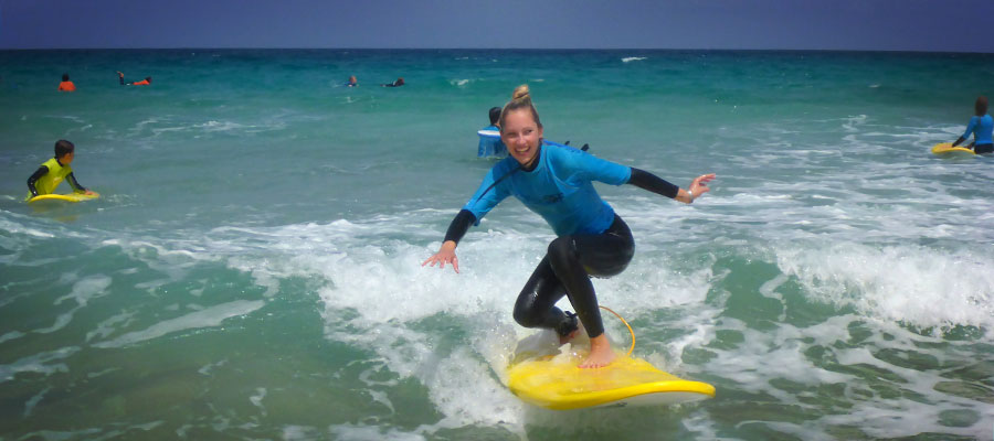 Surf lessons on 15/07/2014 at Cotillo Beach, Fuerteventura