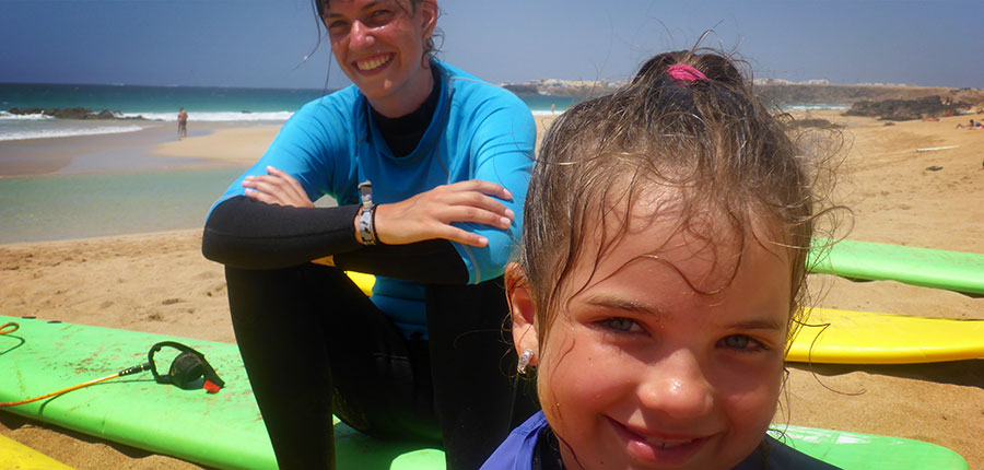 Emilia and Lena are smiling after the surfing session at our surfcamp on Fuerteventura