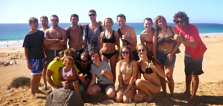 """Our """"flying squirrel"""" on Punta Blanca and a beautiful sunset surf for the surfcamp on fuerteventura"""