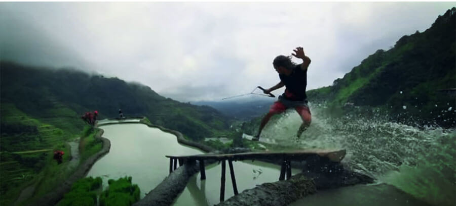 Wakeskating advanced: boardsport on the rice terraces of Banaue