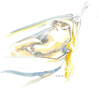 Frau in Hängematte Zeichnung